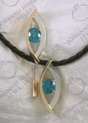 Blue Zircon Pin and Pendant