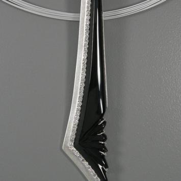 Onyx Platinum-Sterling Pendant