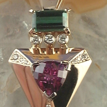 Red and Green Tourmaline Pendant