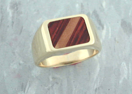 Wood-Wooly Mammoth Ivory Inlay Ring